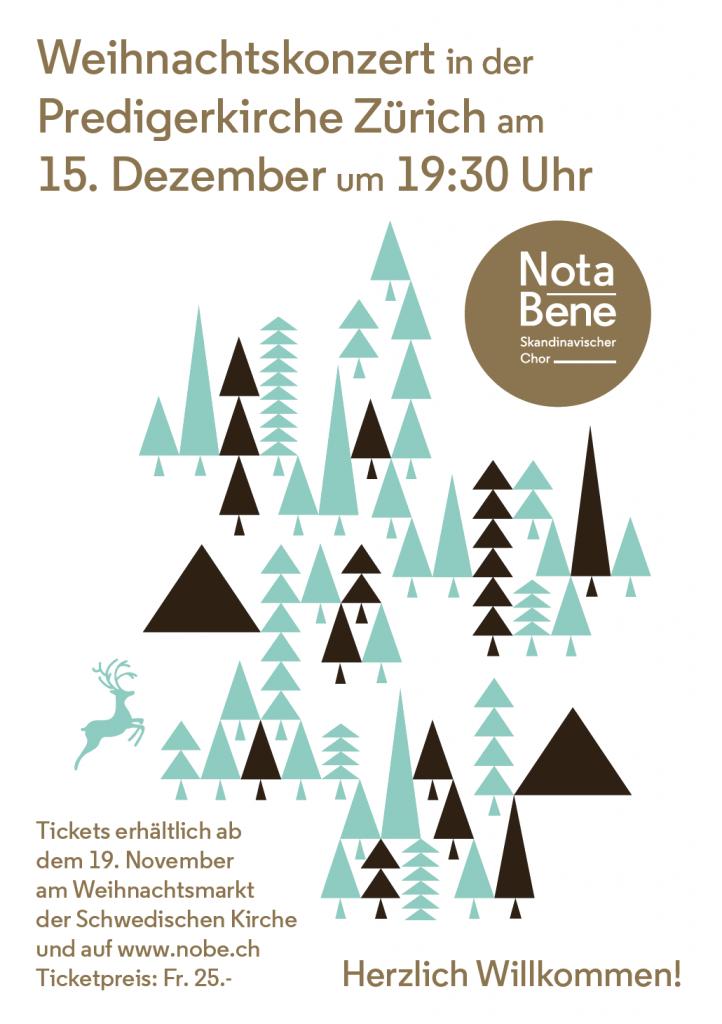 Weihnachtskonzert in der Predigerkirche Zürich am 15. Dezember um 19:30 Uhr. Tickets erhältlich ab dem 19. November am Weihnachtsmarkt der Schwedischen Kirche und auf www.nobe.ch Ticketpreis: Fr. 25.-